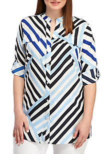8419c6d71a9b9 Calvin Klein. Calvin Klein Plus Size Roll Sleeve Asymmetrical Striped Blouse