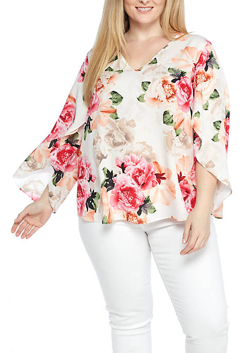 Calvin Klein Plus Size V-Neck Split Sleeve Floral