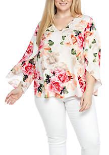 Plus Size V-Neck Split Sleeve Floral Print Top