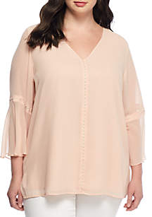 Plus Size V-Neck Top With Pearl Details