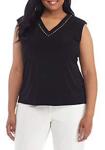 Plus Size Sleeveless V-Neck Blouse With Pearl Detail