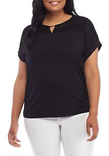 Plus Size Short Sleeve Lace Yoke And Hardware Top