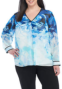Plus Size Print Long Sleeve Top with Binding