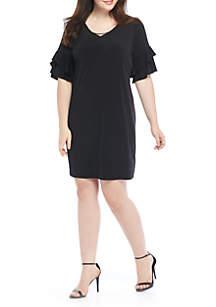 Bar Ruffle Sleeve Dress