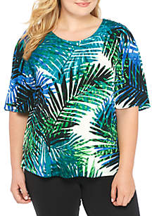 Plus Size Printed Flutter Sleeve Blouse With Buttons
