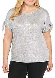 Plus Size Short Sleeve Tee With Tie Sleeves