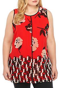Plus Size Printed Sleeveless Center Seam Tunic