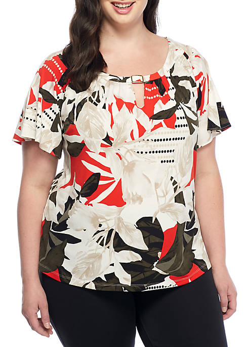 Calvin Klein Plus Size Flutter Sleeve Top With