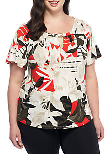 Plus Size Flutter Sleeve Top With Bar Hardware