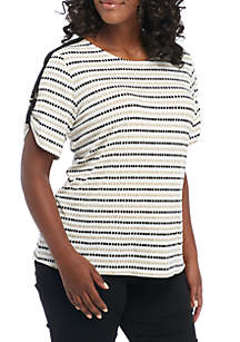 Plus Size Printed Short Sleeve D-Ring Blouse