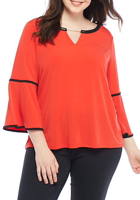 Calvin Klein Plus Size Long Sleeve Blouse with