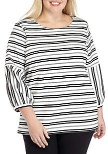 Plus Size Long Bubble Sleeve Striped Top