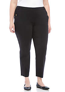 Plus Size Pants with Pocket Buttons