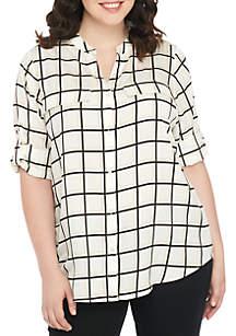 Plus Size Square Print Button Front Shirt
