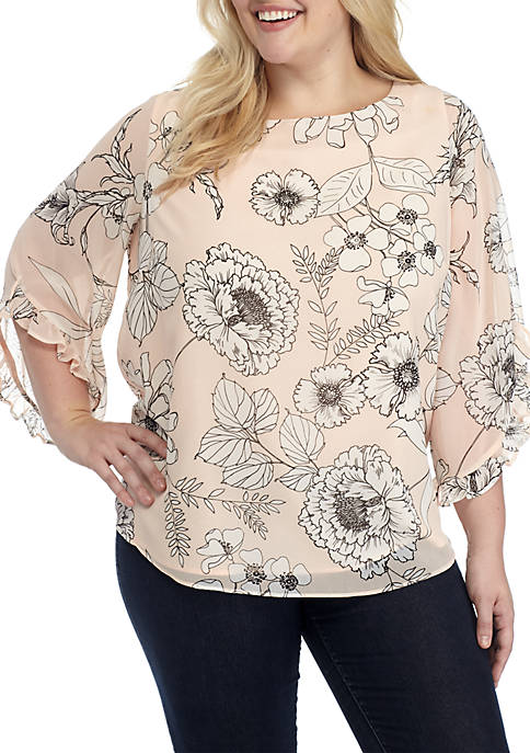 Calvin Klein Plus Size Printed Chiffon Top with