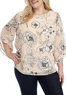 Plus Size Printed Chiffon Top with Ruffle Sleeves