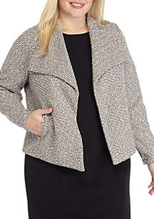 Plus Size Jacquard Knit Flyaway Jacket
