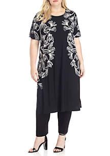 Plus Size Short Sleeve Long Tunic