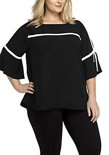 Plus Size Black and White Tie Bell Sleeve