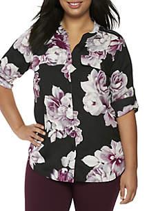 Plus Size Printed Split Neck Top