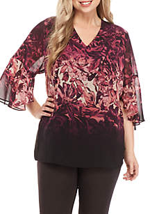 Plus Size Three-Quarter Sleeve Floral Print Top
