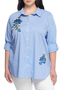 Plus Size Wide Stripe Blouse With Embroidery