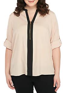 Plus Size Roll Sleeve Half Zip Top