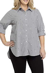 Plus Size Poplin Allover Pearl Top