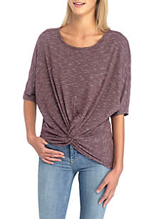 Twist-Front Elbow Sleeve Tunic