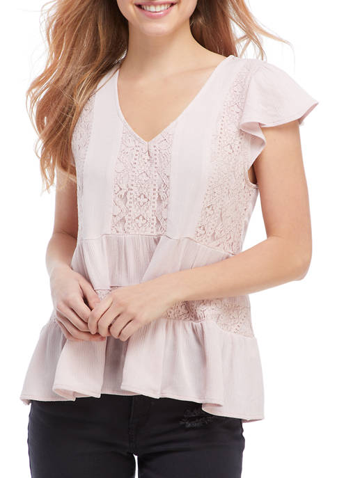 CHANCE OR FATE Juniors Short Sleeve Woven Babydoll