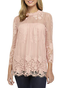 3/4 Sleeve Mock Neck Allover Lace Top