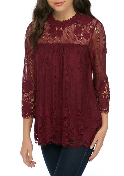 CHANCE OR FATE Juniors Long Sleeve Allover Lace