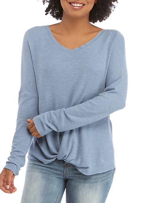CHANCE OR FATE Juniors Long Sleeve Rib Knit