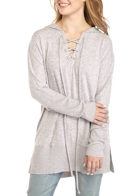 CHANCE OR FATE Juniors Hacci Lace Up Tunic