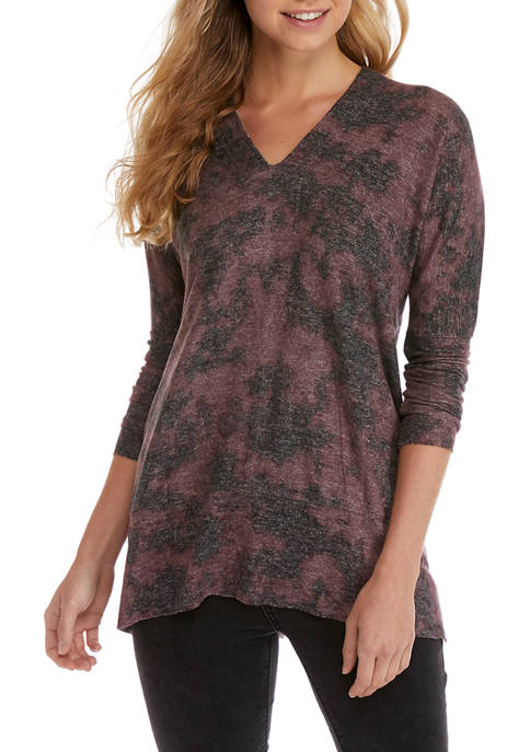 CHANCE OR FATE Juniors Hacci V Neck Tunic