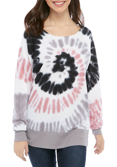 CHANCE OR FATE Juniors Long Sleeve Tie Dye