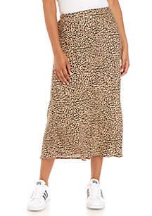 love, Fire Leopard Print Midi Skirt