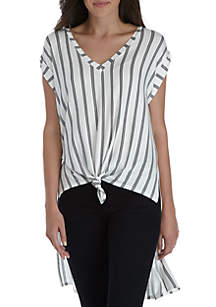 Sleeveless Extreme High Low Knot Front Top
