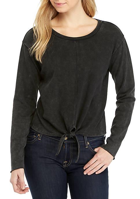Long Sleeve Knot Front Sweatshirt