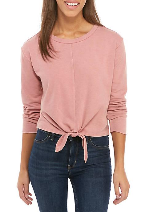 love, Fire Long Sleeve Knot Front Sweatshirt