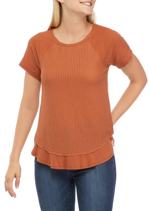 love, Fire Juniors Short Sleeve Waffle Knit Top