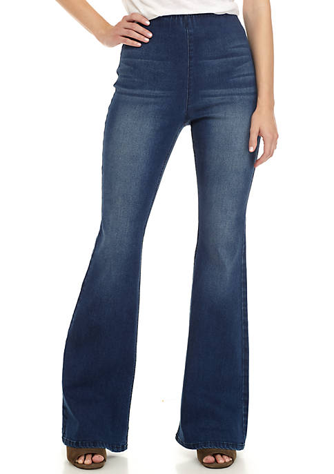 Pull-On Clean Hem Flare Jeans