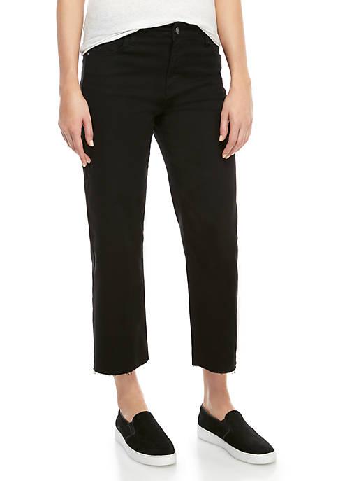 Cropped Wide Leg Denim Pants