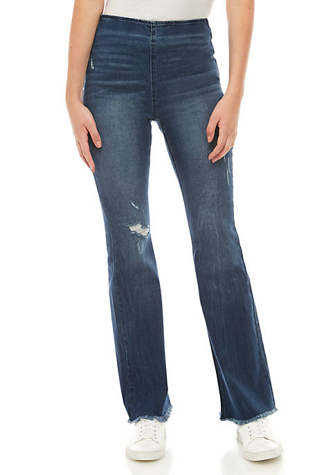 Tinseltown Pull On Clean Hem Flare Jeans