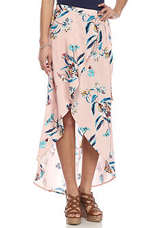 love, Fire Floral Wrap Skirt