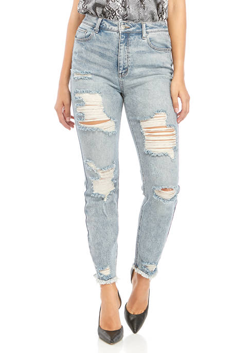 Rampage High Rise Destructed Denim Jeans