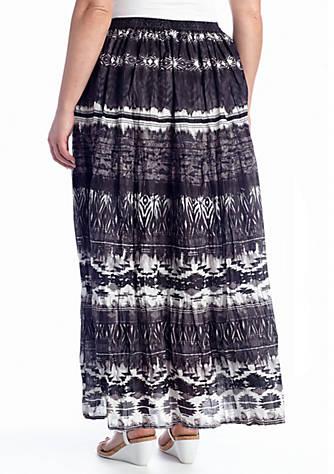 2733886b762c5 Jane Ashley. Jane Ashley Plus Size Crinkled Print Maxi Skirt