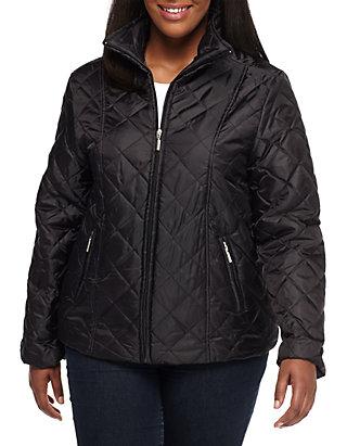 Jane Ashley Plus Size Quilted Zip Pocket Jacket Belk
