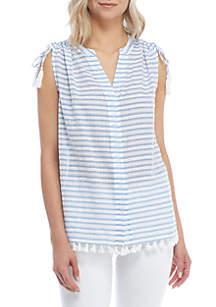 Sleeveless Stripe Tassel Top