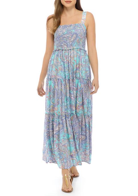 Womens Tier Printed Maxi Dress